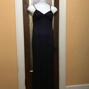 Full length spaghetti strap dress w/beaded bodice